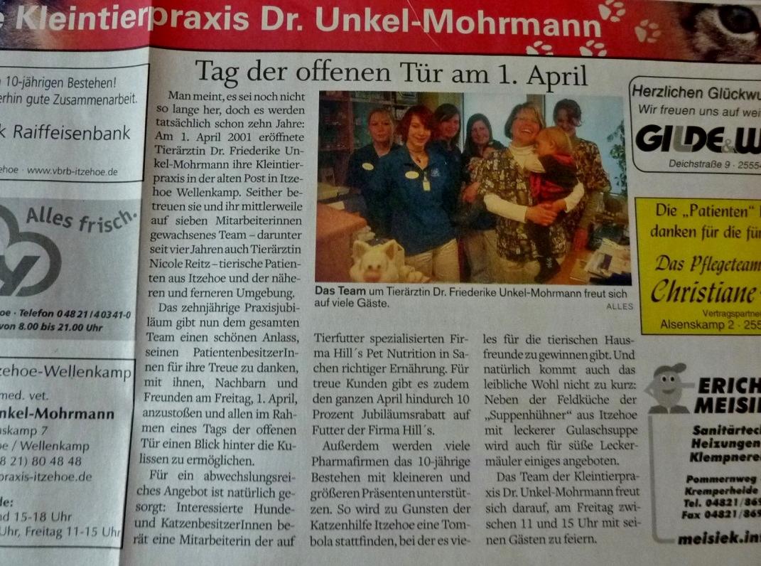 Artikel in der Norddeutsche Rundschau Ende März 2011
